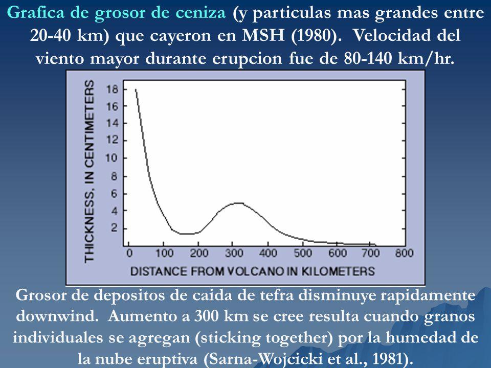 Grafica de grosor de ceniza (y particulas mas grandes entre 20-40 km) que cayeron en MSH (1980). Velocidad del viento mayor durante erupcion fue de 80-140 km/hr.