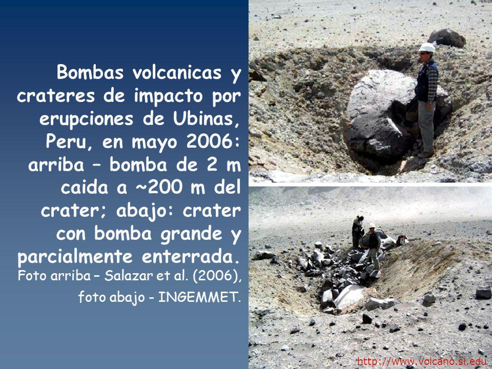Bombas volcanicas y crateres de impacto por erupciones de Ubinas, Peru, en mayo 2006: arriba – bomba de 2 m caida a ~200 m del crater; abajo: crater con bomba grande y parcialmente enterrada. Foto arriba – Salazar et al. (2006), foto abajo - INGEMMET.