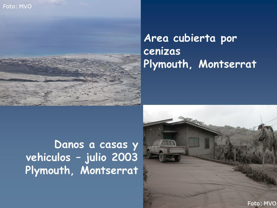 Area cubierta por cenizas Plymouth, Montserrat