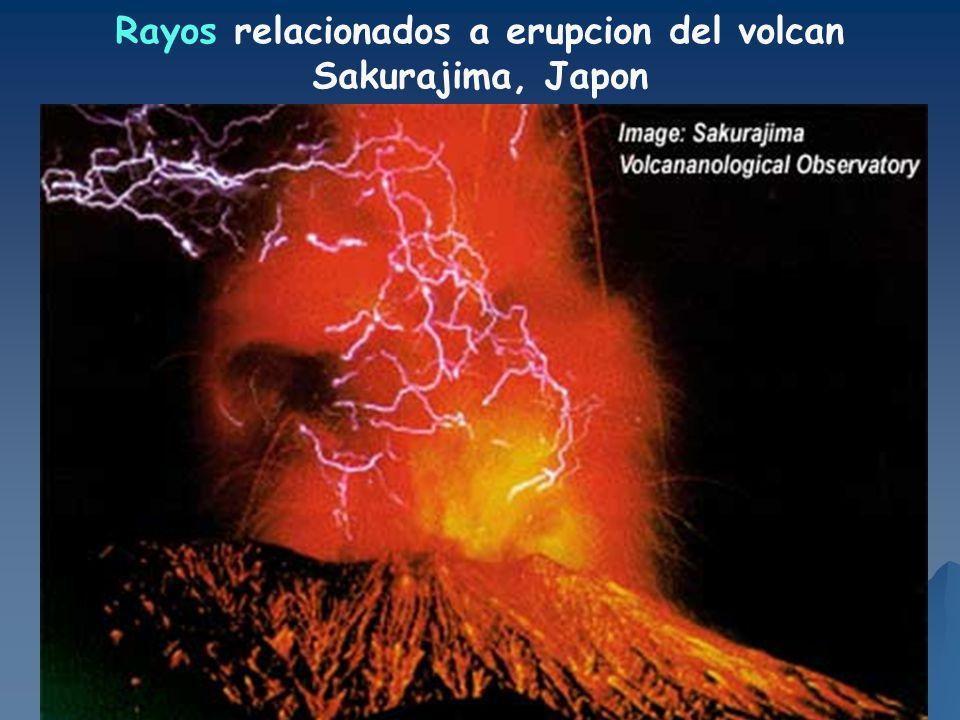Rayos relacionados a erupcion del volcan Sakurajima, Japon