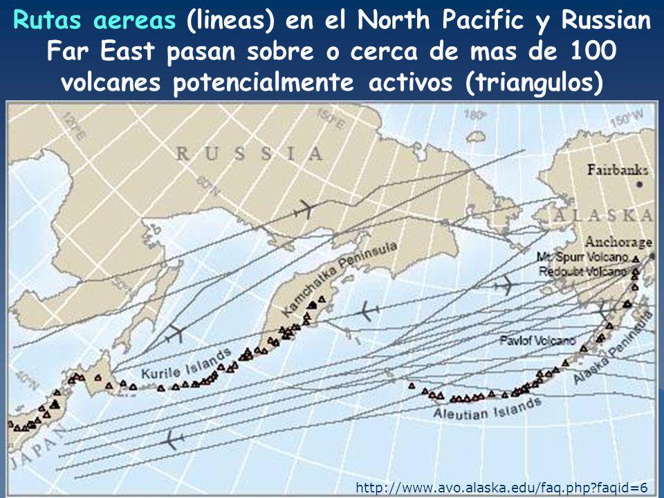 Rutas aereas (lineas) en el North Pacific y Russian Far East pasan sobre o cerca de mas de 100 volcanes potencialmente activos (triangulos)