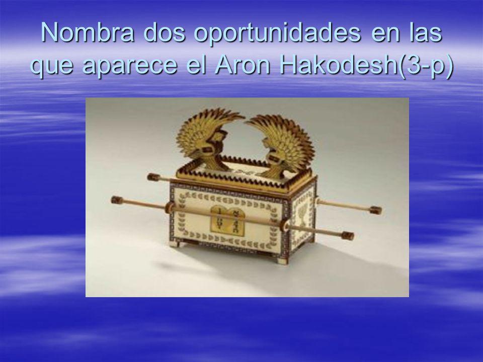 Nombra dos oportunidades en las que aparece el Aron Hakodesh(3-p)