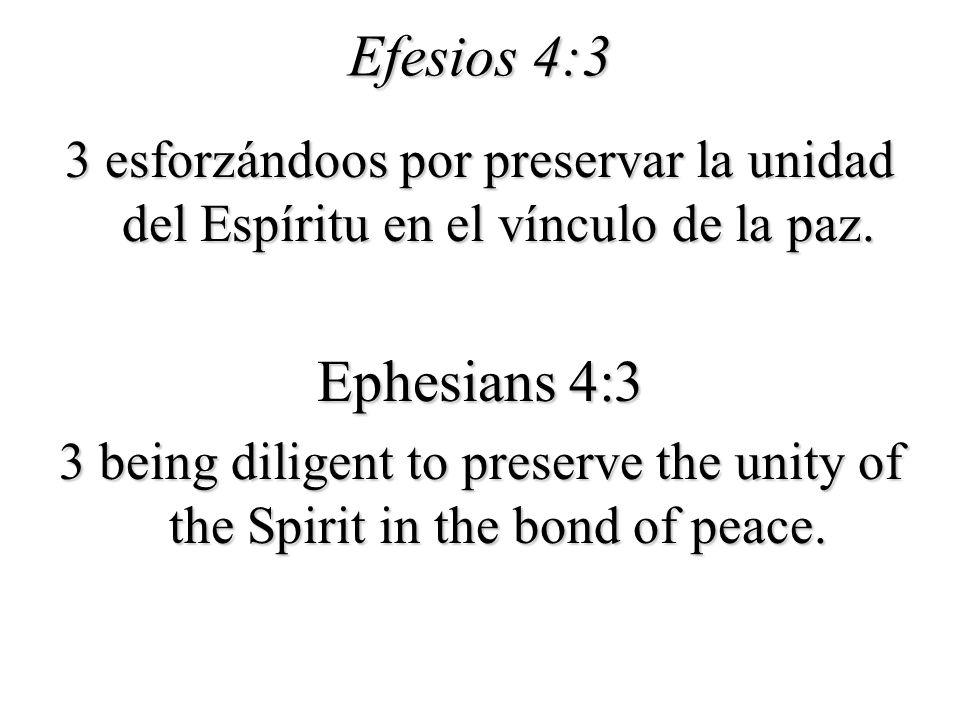 Efesios 4:3 3 esforzándoos por preservar la unidad del Espíritu en el vínculo de la paz. Ephesians 4:3.