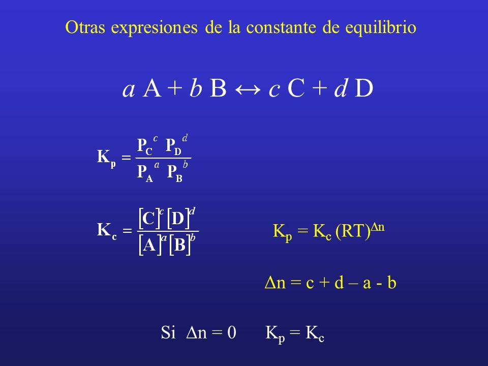 a A + b B ↔ c C + d D Otras expresiones de la constante de equilibrio