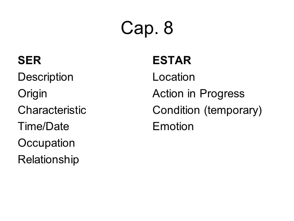Cap. 8 SER Description Origin Characteristic Time/Date Occupation