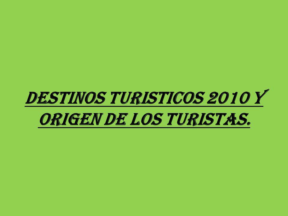 DESTINOS TURISTICOS 2010 Y ORIGEN DE LOS TURISTAS.