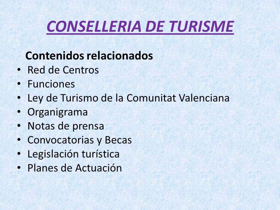 CONSELLERIA DE TURISME