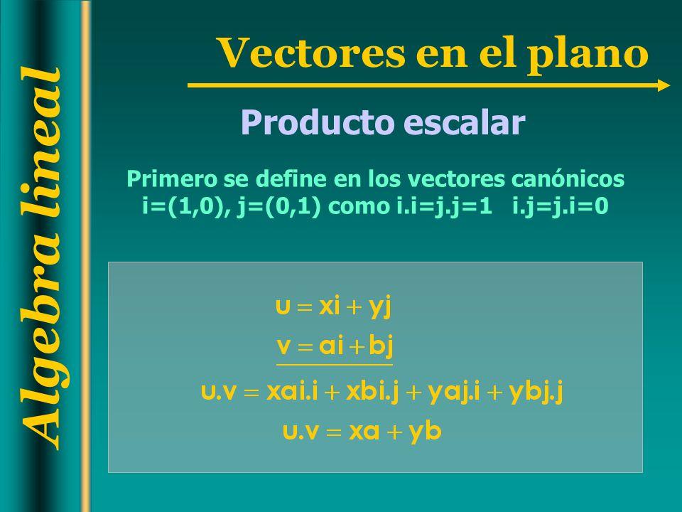 Producto escalar Primero se define en los vectores canónicos i=(1,0), j=(0,1) como i.i=j.j=1 i.j=j.i=0.