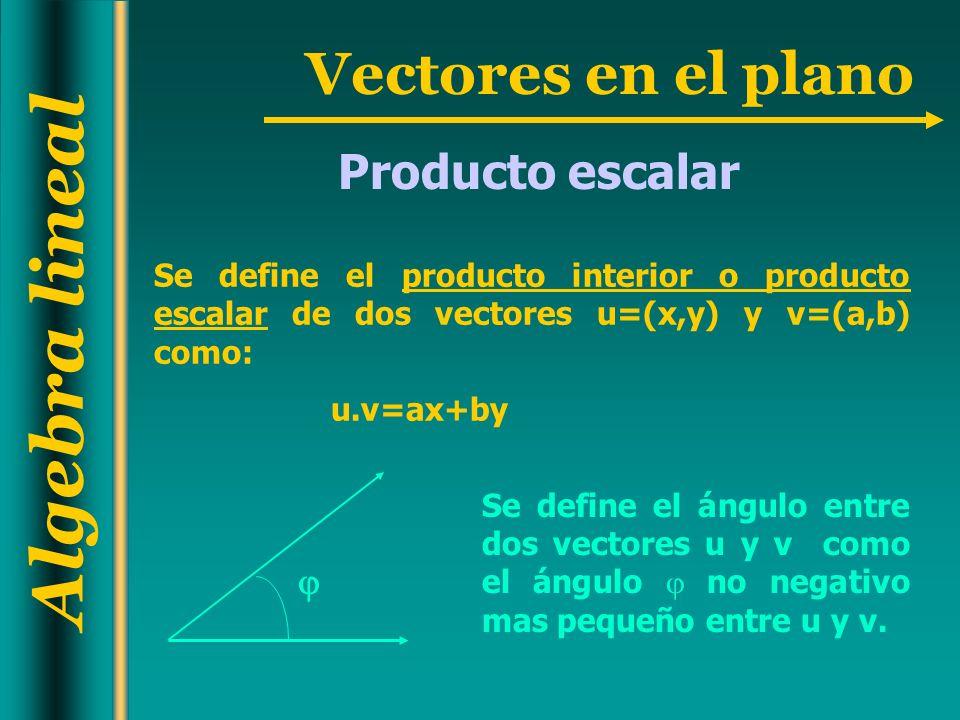 Producto escalar Se define el producto interior o producto escalar de dos vectores u=(x,y) y v=(a,b) como: