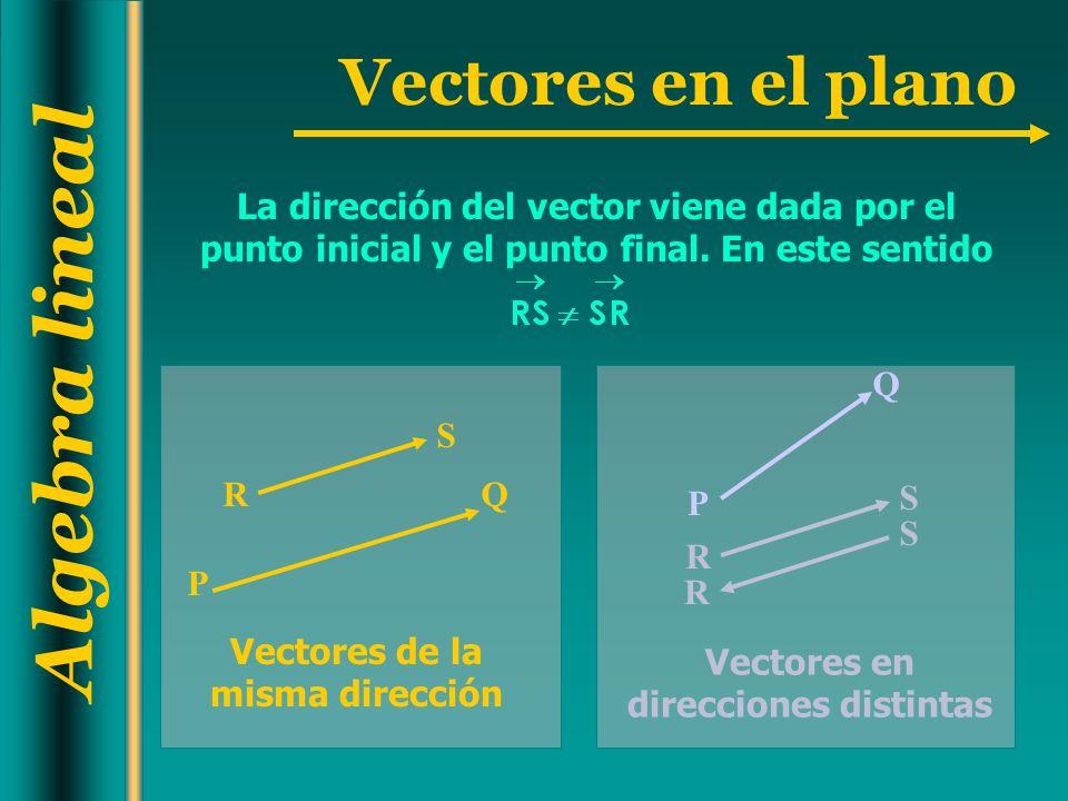 Vectores de la misma dirección Vectores en direcciones distintas