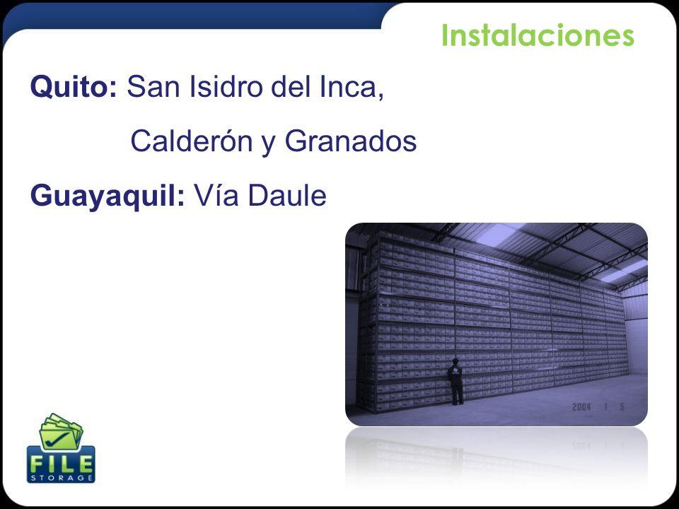 Instalaciones Quito: San Isidro del Inca, Calderón y Granados Guayaquil: Vía Daule