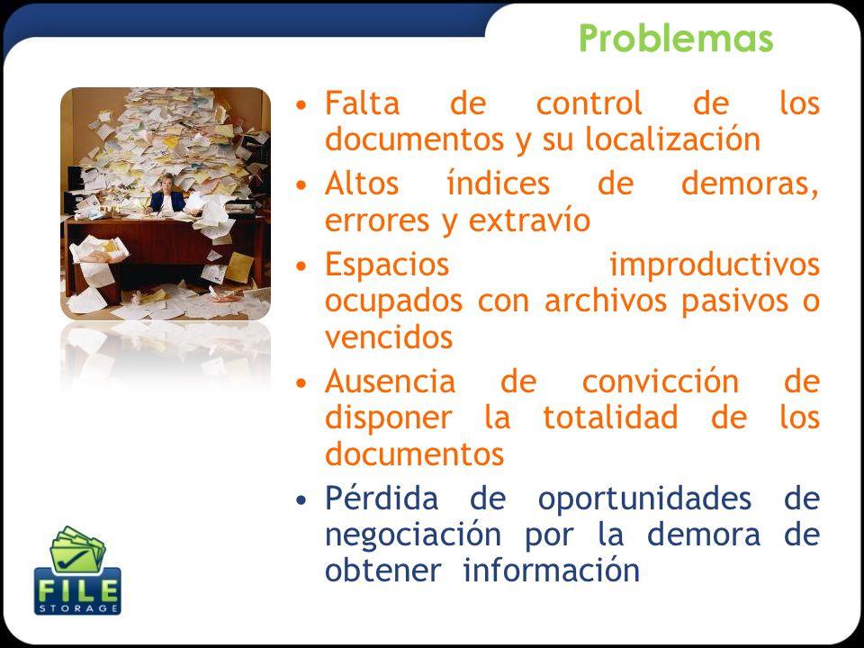 Problemas Falta de control de los documentos y su localización