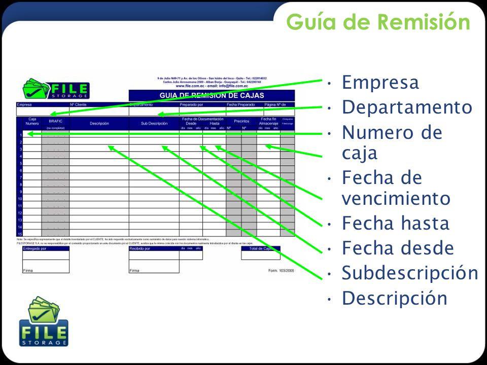 Guía de Remisión Empresa Departamento Numero de caja