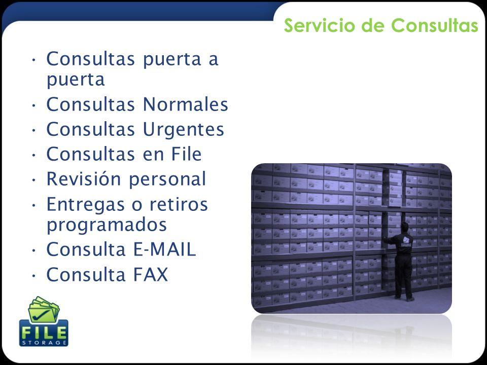 Servicio de Consultas Consultas puerta a puerta. Consultas Normales. Consultas Urgentes. Consultas en File.