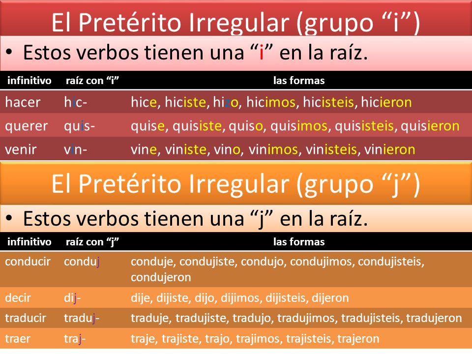 El Pretérito Irregular (grupo i )