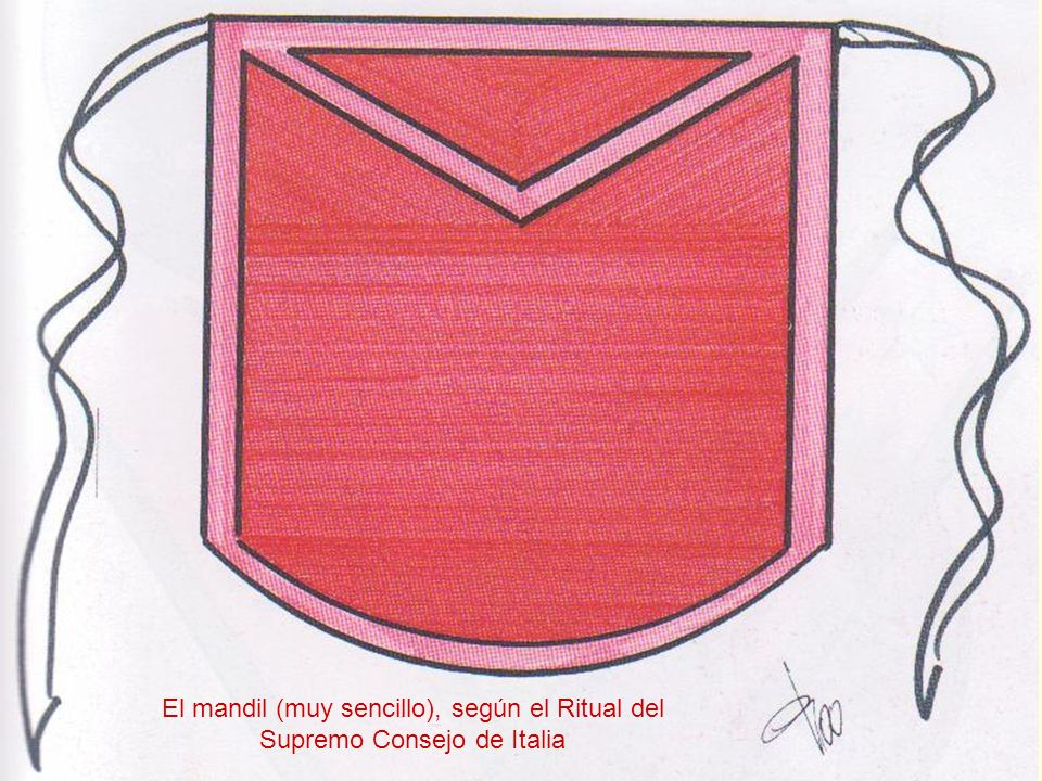 El mandil (muy sencillo), según el Ritual del