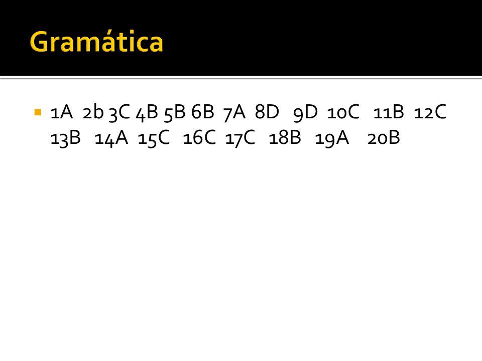 Gramática 1A 2b 3C 4B 5B 6B 7A 8D 9D 10C 11B 12C 13B 14A 15C 16C 17C 18B 19A 20B.