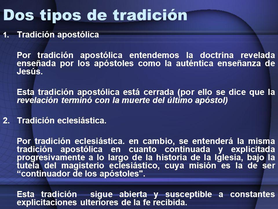 Dos tipos de tradición Tradición apostólica