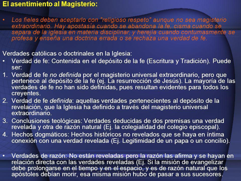 El asentimiento al Magisterio: