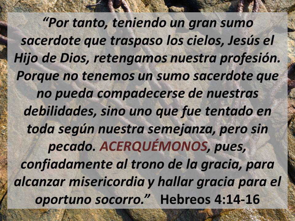 Por tanto, teniendo un gran sumo sacerdote que traspaso los cielos, Jesús el Hijo de Dios, retengamos nuestra profesión.