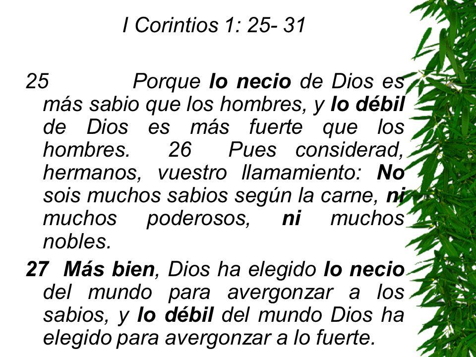 I Corintios 1: 25- 31