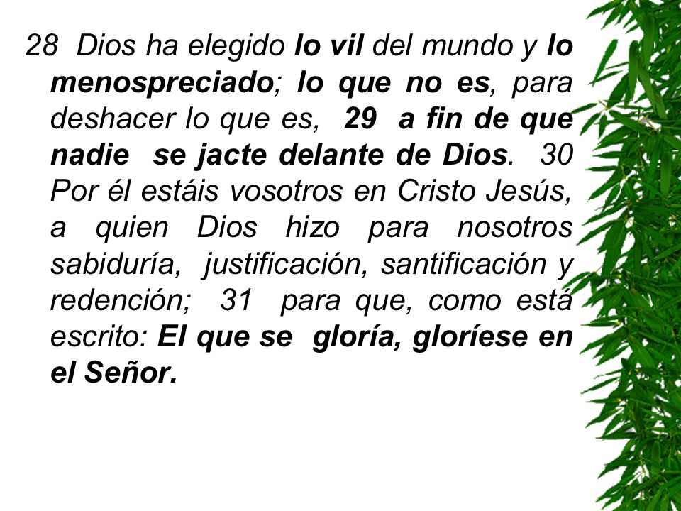 28 Dios ha elegido lo vil del mundo y lo menospreciado; lo que no es, para deshacer lo que es, 29 a fin de que nadie se jacte delante de Dios.