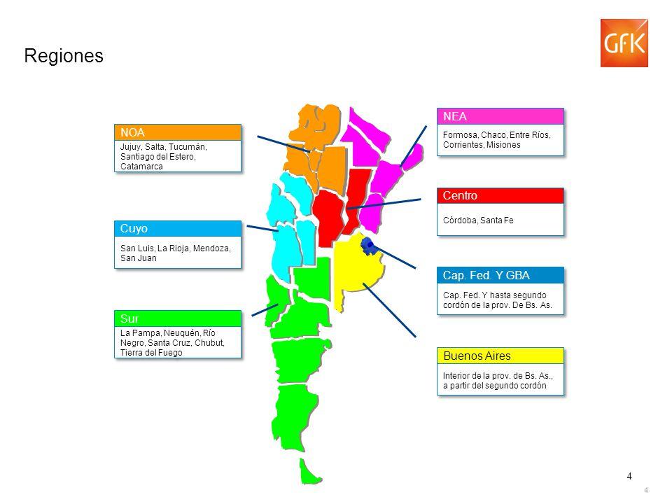 Regiones NEA NOA Centro Cuyo Cap. Fed. Y GBA Sur 4 Buenos Aires 4