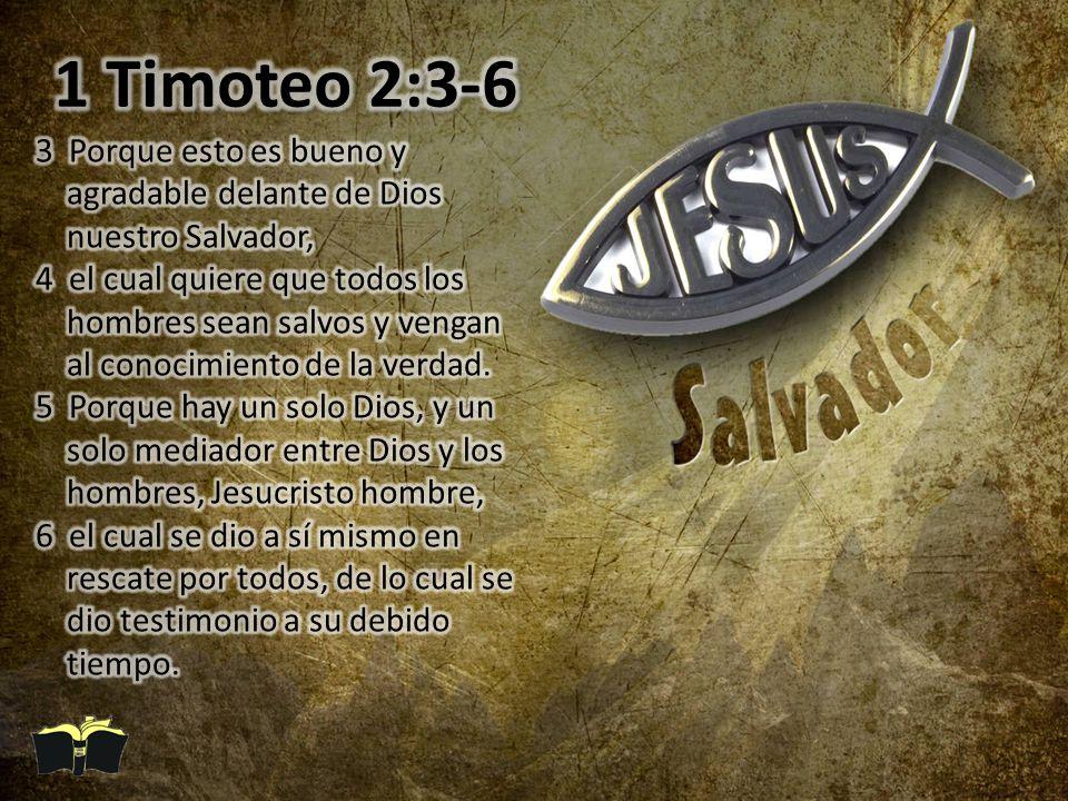 1 Timoteo 2:3-6 3 Porque esto es bueno y agradable delante de Dios nuestro Salvador,