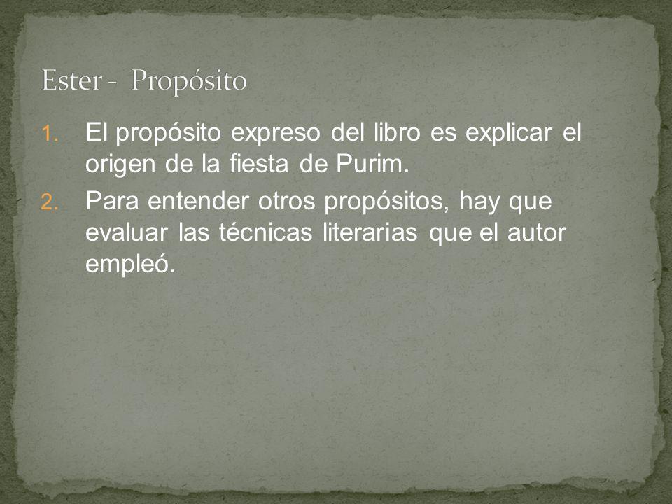 Ester - Propósito El propósito expreso del libro es explicar el origen de la fiesta de Purim.
