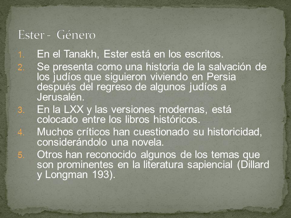 Ester - Género En el Tanakh, Ester está en los escritos.