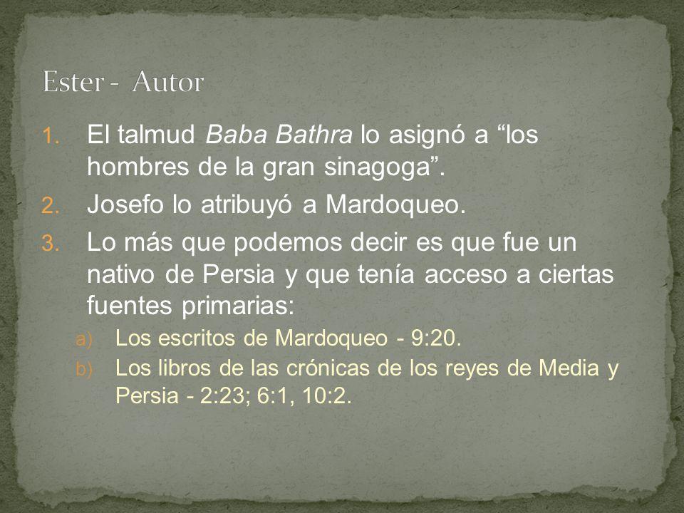 Ester - Autor El talmud Baba Bathra lo asignó a los hombres de la gran sinagoga . Josefo lo atribuyó a Mardoqueo.