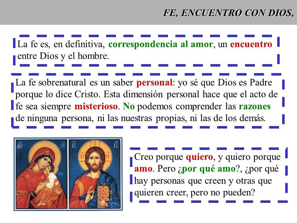 FE, ENCUENTRO CON DIOS, La fe es, en definitiva, correspondencia al amor, un encuentro. entre Dios y el hombre.
