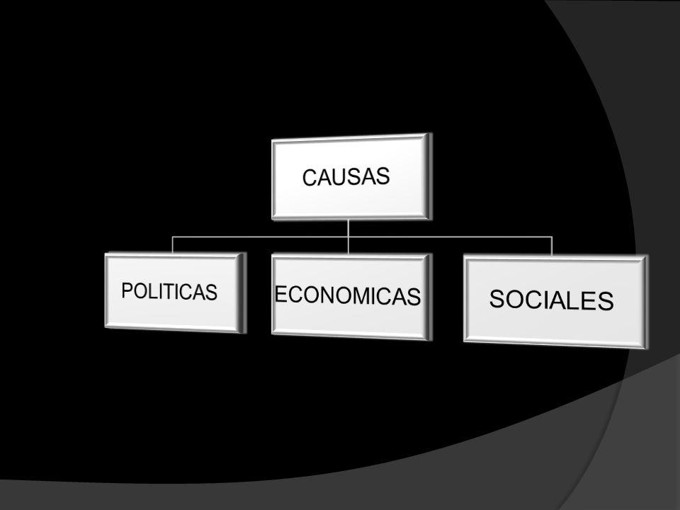 CAUSAS POLITICAS ECONOMICAS SOCIALES