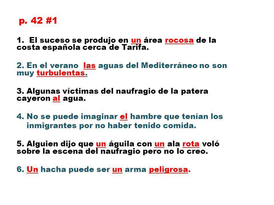 p. 42 #1 1. El suceso se produjo en un área rocosa de la costa española cerca de Tarifa.