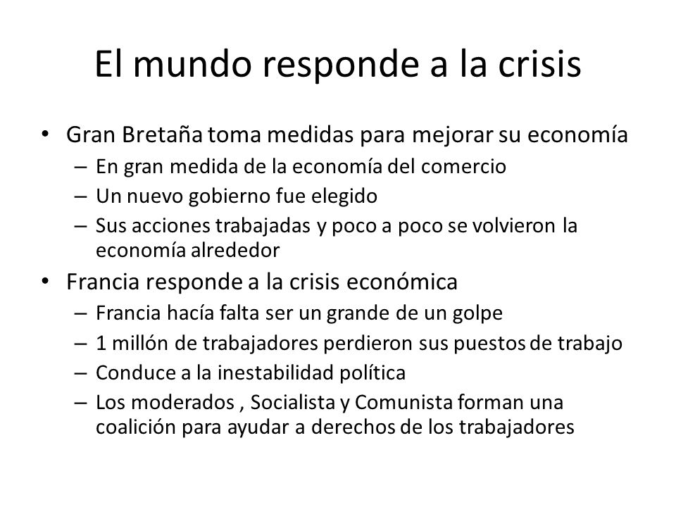 El mundo responde a la crisis