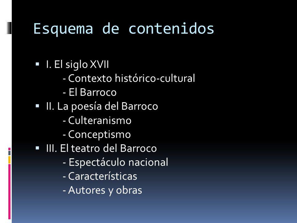 Esquema de contenidos I. El siglo XVII - Contexto histórico-cultural