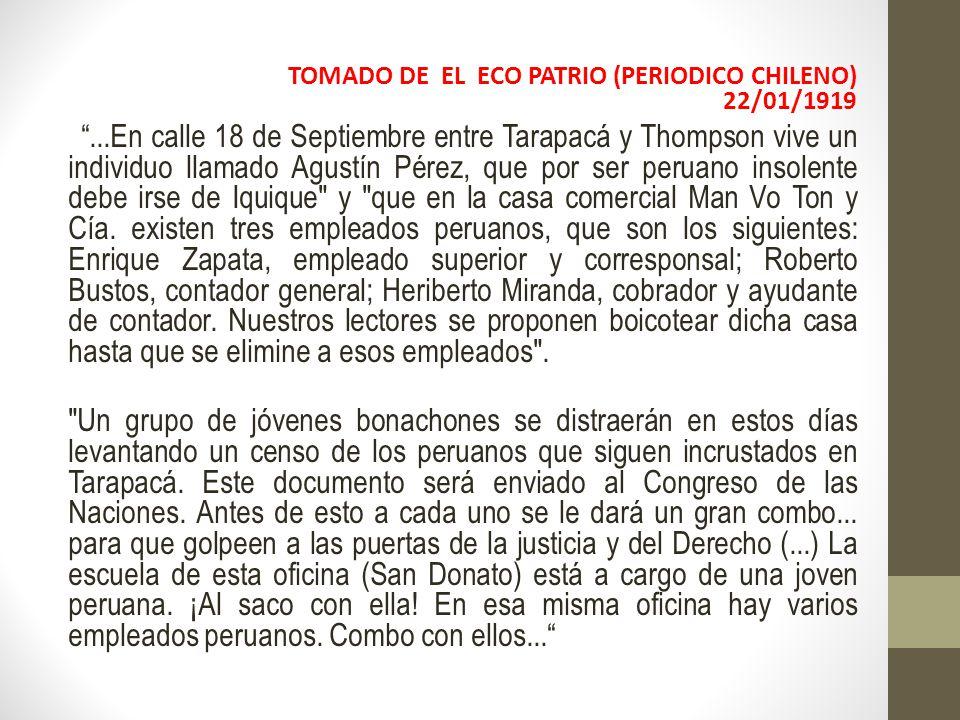 TOMADO DE EL ECO PATRIO (PERIODICO CHILENO) 22/01/1919