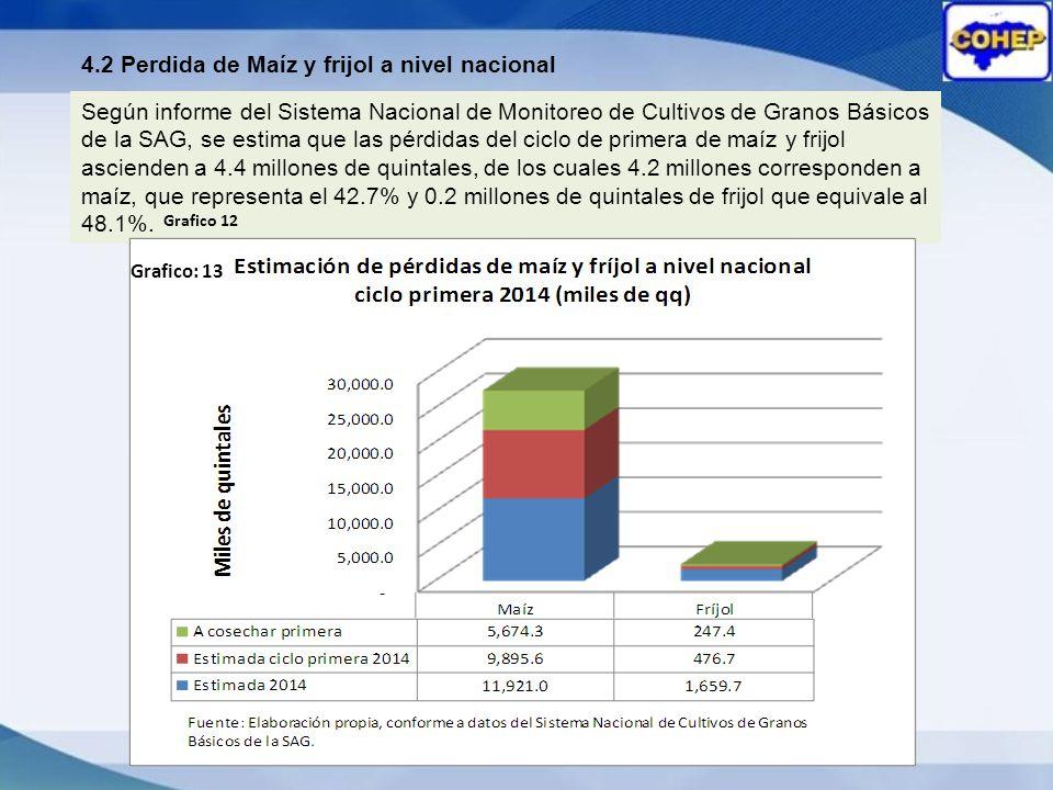 4.2 Perdida de Maíz y frijol a nivel nacional