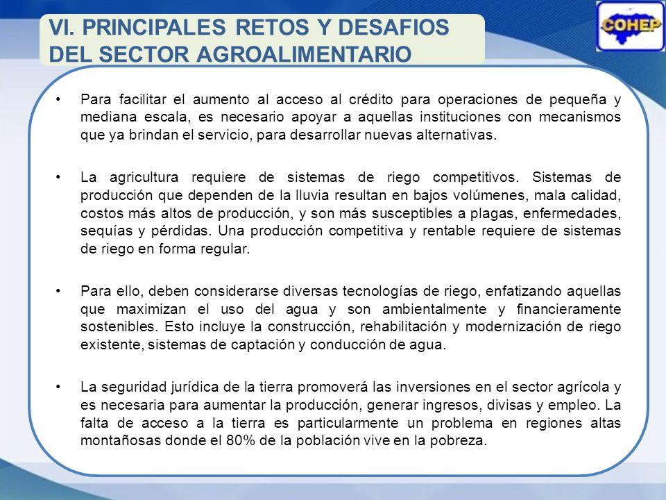 VI. PRINCIPALES RETOS Y DESAFIOS DEL SECTOR AGROALIMENTARIO