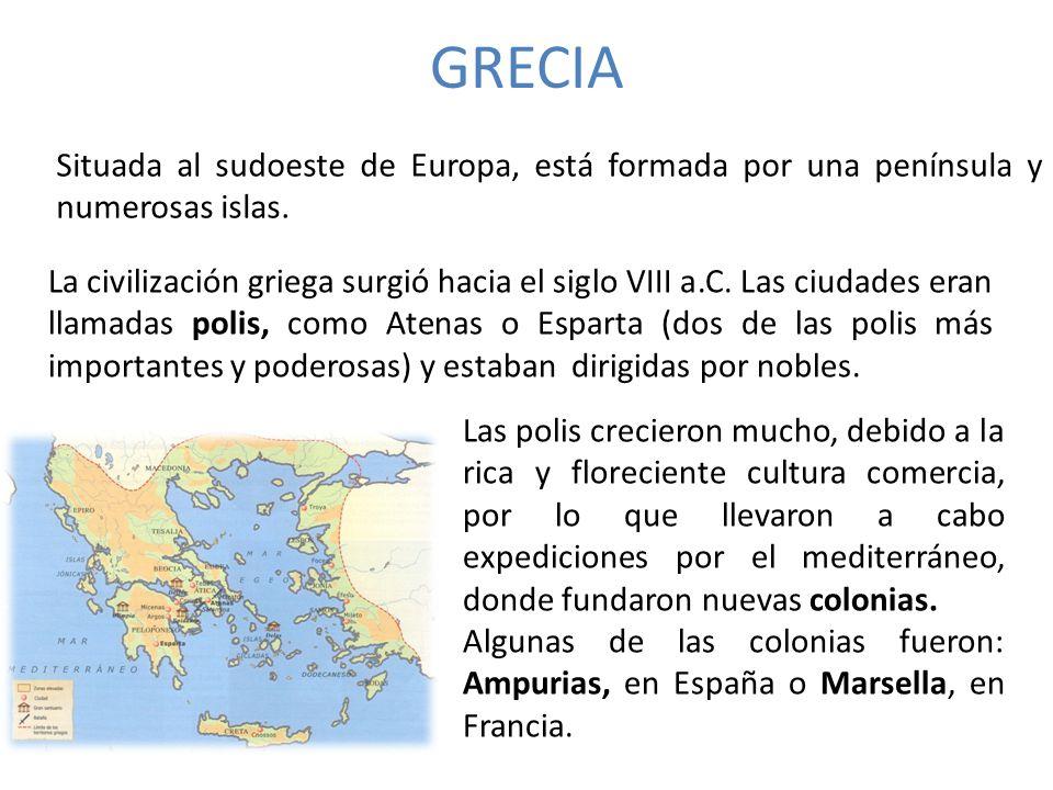 GRECIA Situada al sudoeste de Europa, está formada por una península y numerosas islas.