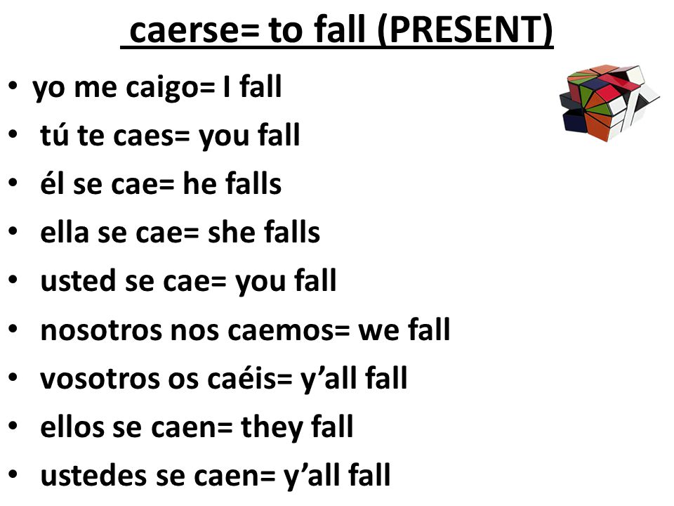caerse= to fall (PRESENT)
