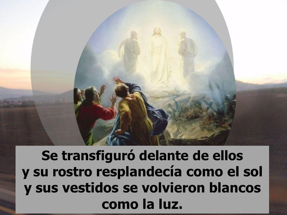 Se transfiguró delante de ellos y su rostro resplandecía como el sol y sus vestidos se volvieron blancos como la luz.