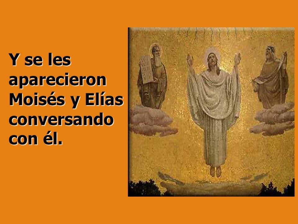 Y se les aparecieron Moisés y Elías conversando con él.