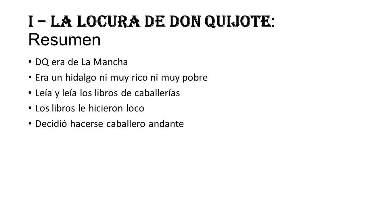 I – La locura de don Quijote: Resumen