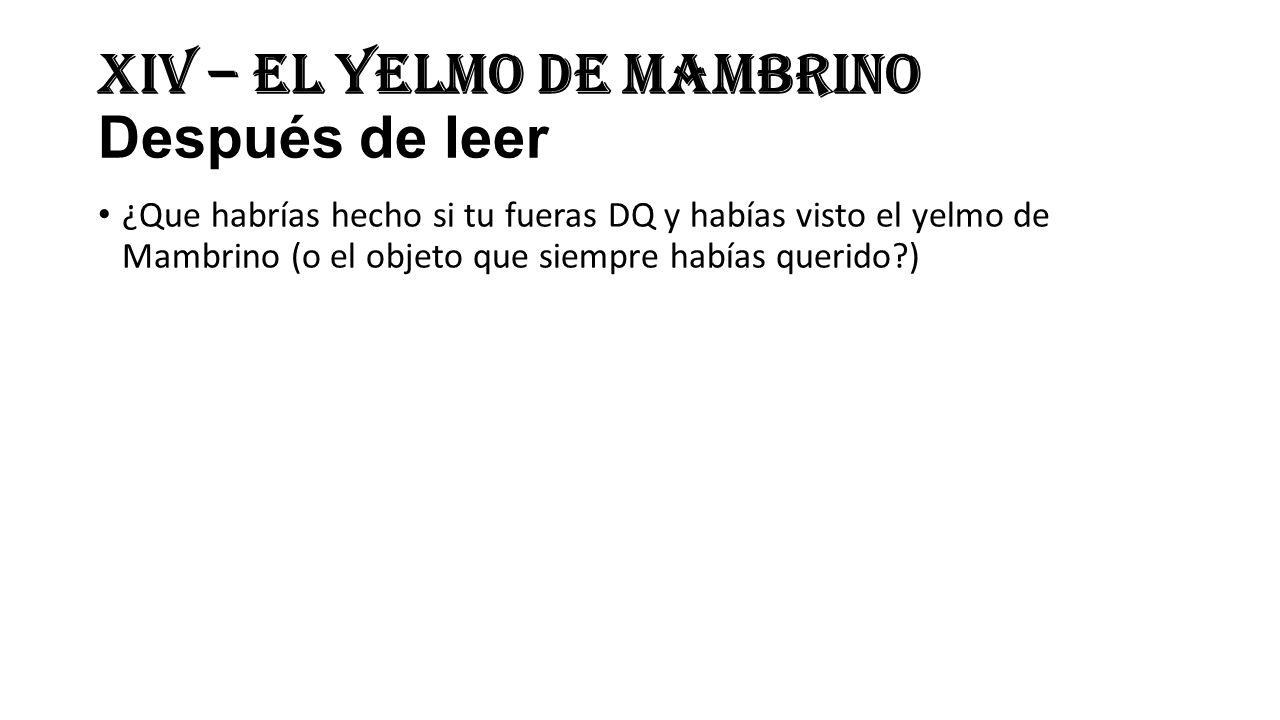 XIV – El Yelmo de Mambrino Después de leer