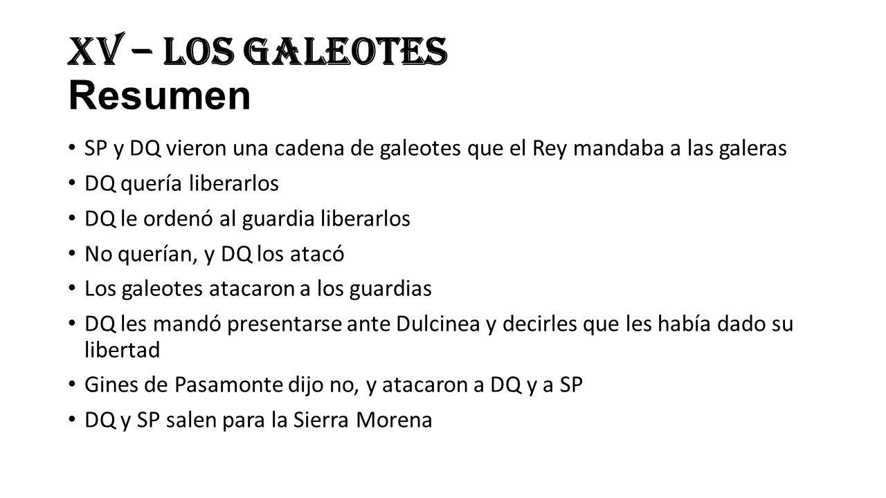 XV – Los Galeotes Resumen