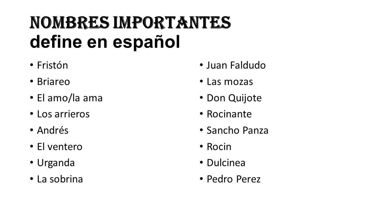 Nombres importantes define en español