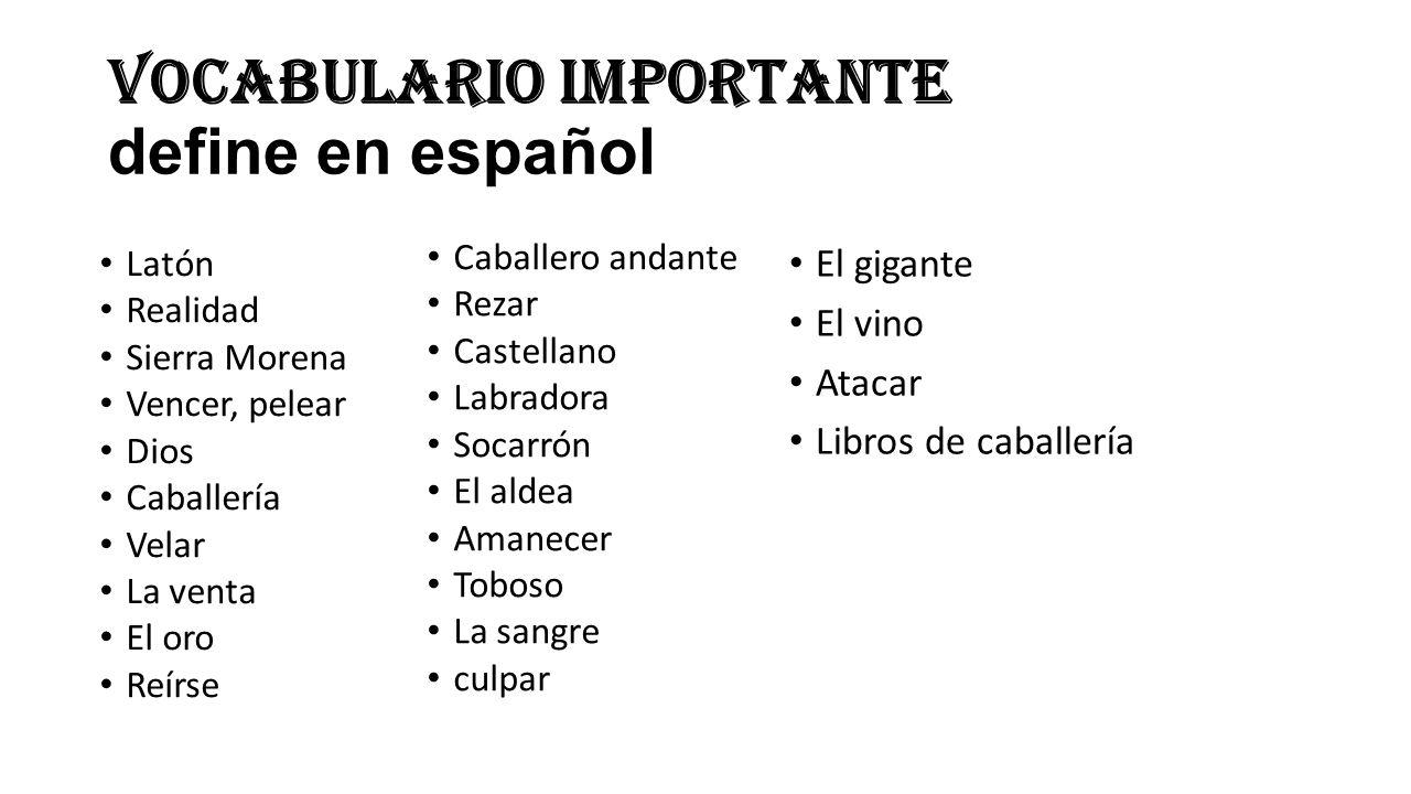 Vocabulario Importante define en español