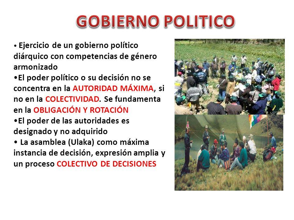 GOBIERNO POLITICO Ejercicio de un gobierno político diárquico con competencias de género armonizado.