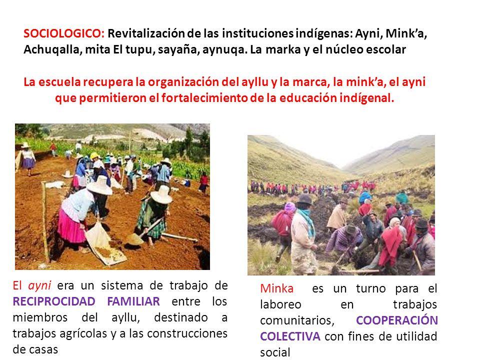SOCIOLOGICO: Revitalización de las instituciones indígenas: Ayni, Mink'a, Achuqalla, mita El tupu, sayaña, aynuqa. La marka y el núcleo escolar